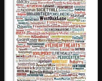 Philadelphia Map - Typography Neighborhoods of  Philadelphia Poster Print