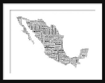 Mexico Map Typography Map Poster Print Text Map