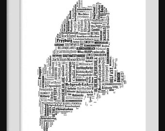 Maine Map Typography Poster Print
