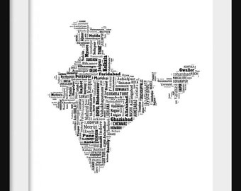 India Map Typography Map Poster Print Text Map
