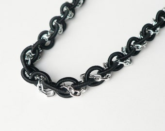 Intertwined Necklace with Silver Aluminum Chain and Black Nylon Chain