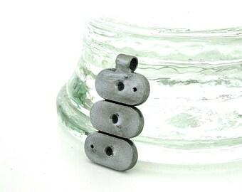 Steel Pendant Charm Modern Industrial: 3 Ovals
