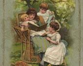 Vintage Childhood Illustrations Collage Sheet Instant Digital Download