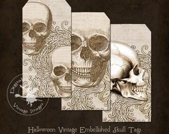 Halloween Vintage Embellished Skull Tags Instant Digital Download