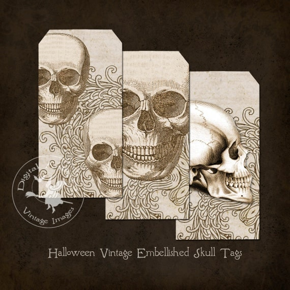 Halloween Vintage Embellished Skull Tags Instant Digital Download