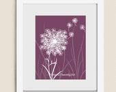 Wind Blowing Dandelion Seed 11 x 14 Print, Mauve Home Office Décor, Burgandy Summer Flower Wall Art (203)