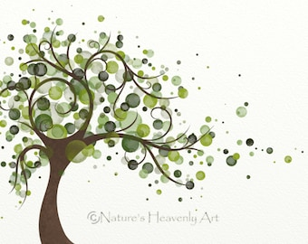 Green Tree Art Print 5 x 7, Circles, Wind Blowing Tree Print, Nature Themed Home Decor, Modern Wall Decor (61)