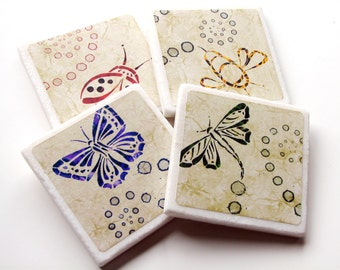 Cute Ceramic Tile Coasters, Butterfly, Dragonfly, Ladybug, Bumble Bee, Flying Bugs, Nature Home Decor Accessory, Insects - Set of 4