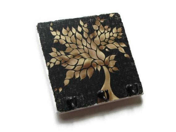Tan Tree Wall Decor Key Hook Black Key Holder Decorative