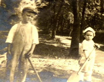 Mommy. I Promise I'll Be Good.  Can I Stop Shoveling Now.  Cute Vintage Photo.
