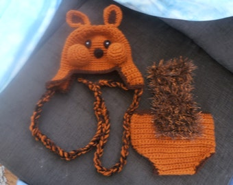 Baby squirrel hat and diaper cover set SALE  0-6mth to 18mth same price