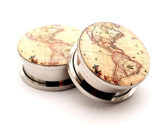 Antique Map Style 1 Picture Plugs gauges - 16g, 14g, 12g, 10g, 8g, 6g, 4g, 2g, 0g, 00g, 7/16, 1/2, 9/16, 5/8, 3/4, 7/8, 1 inch
