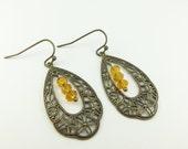 Amber Dangle Earrings Teardrop Victorian Style Antiqued Brass Filigree Glass Beaded