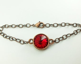 Red Bracelet Chain Bracelet Antiqued Copper Chain Bracelet Swarovski Crystal Copper Bracelet