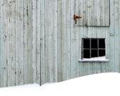 Rustic Blue Barn, Snow, Winter Scene, Window,  Fine Art Photography, Landscape, Wall Art, 11X14 Mat, Ready to Frame, Wall Hanging