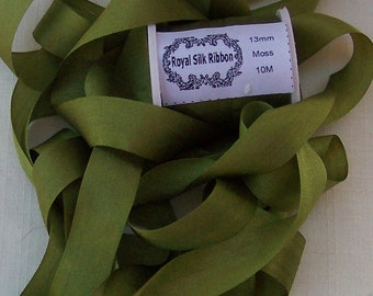Pure Silk Ribbon 13mm 1/2 inch wide 10 yards Moss Color
