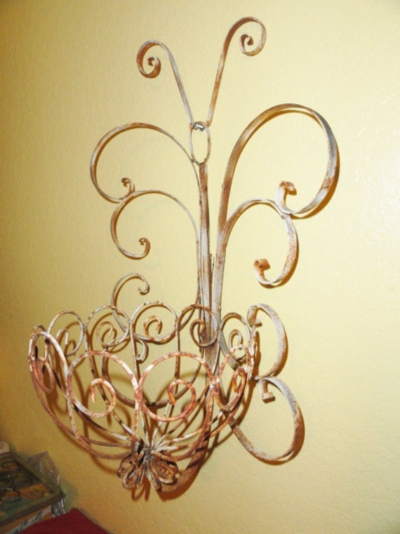 Rustic French Wall Decor : Vintage garden planter french wrought iron by bluebonnetfields