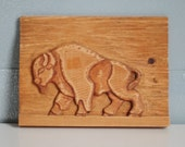 Vintage Art Wooden Wood Buffalo Wall Hanging