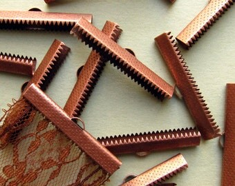 10pcs. 40mm or 1 9/16 inch Antique Copper Ribbon Clamp End Crimps