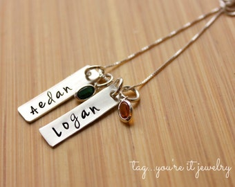 Mommy Necklace Hand Stamped Birthstone Necklace, Sterling Silver Bar Necklace, Childrens Names