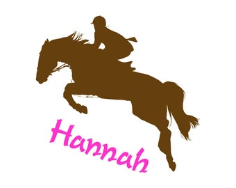 Horse decal, name wall sticker, girls bedroom decal, teen room decor, childs personalized decal, western decor, dorm, 28 X 30 inches, 97-HP