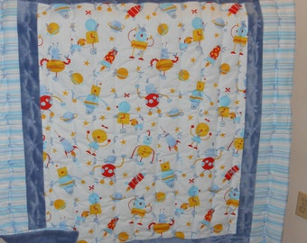 Blue David Walker Robots and Rockets Cotton and Minky Tyed Baby Quilt