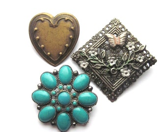 Vintage Brooch Lot Heart BroochTurquoise Jewelry Metal Brooches