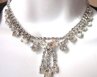 Rhinestone Vintage Necklace Parure Bridal Jewelry Rhinestone Bracelet and Earrings Formal Jewelry