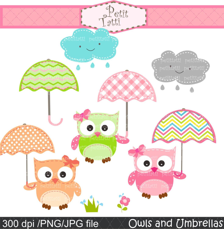 Baby Shower Umbrella Clip Art Owl clip art , digital clip