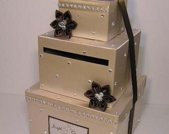 Wedding Card Box Champagne and Choco Brown Gift Card Box Money Box Holder--Customize your color