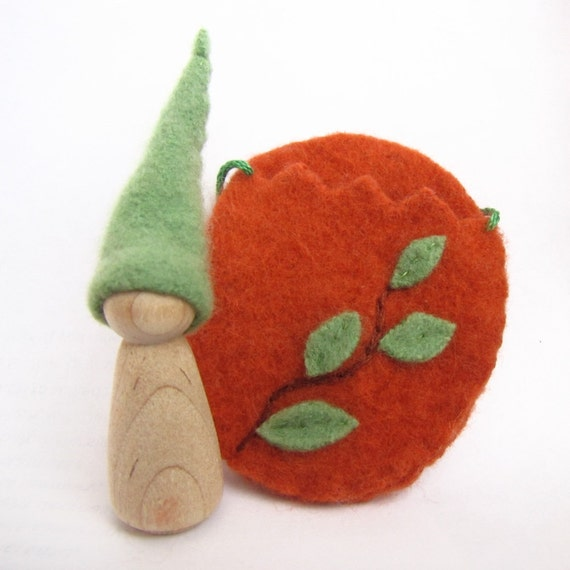 Wool Easter Egg Toy, Orange and Green Leaves Peg Doll, Waldorf Gnome, Felted Wool Playset
