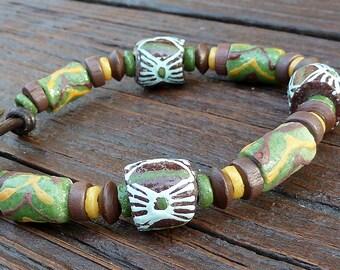 Olive Green Recycled Glass Bracelet - Olive Green Recycled Glass Krobo Beads, Brown Leather Bracelet