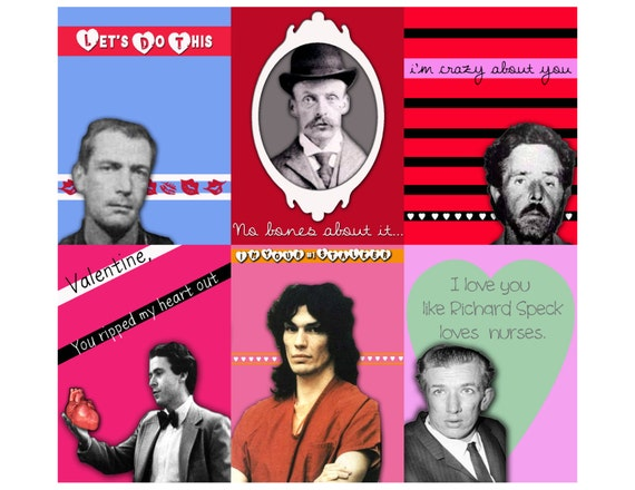 Items Similar To Serial Killer Valentine 3 Sheet Set Assortment On Etsy