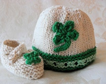 St. Paddy's Day Cotton Knitted Irish Baby Hat, St. Patrick's Day Hat Shamrock Baby Hat Knitted Shamrock Hat Hand Knitted Baby Clothing