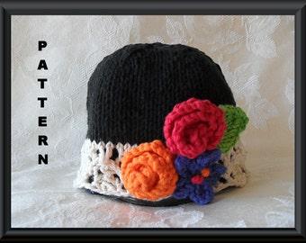 Knitted Hat Pattern Baby Hat Pattern  Newborn Hat Pattern Infant Hat Pattern Children Clothing Flower Hat Pattern: WAKE UP COLORS