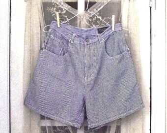 vintage 80s high waist navy blue and white pinstripe engineer denim shorts