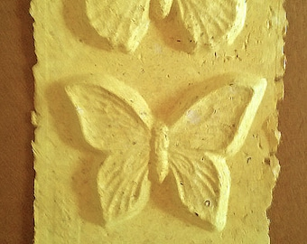Yellow Butterfly Trio Handmade Paper Cast