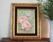 Vintage Painting Roses in Pink framed in Black Velvet and Gold