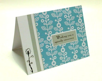 Get well grey blue and white floral card
