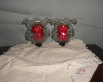 Votive Candle Holder Clear Glass  with Ruffled top