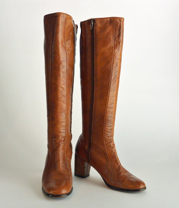 vtg 60s womens brown leather boots goloboots mod gogo
