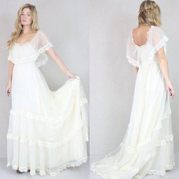 Vtg 60s/70s Cream Sheer Boho Hippie Wedding Prairie Lace Draped Maxi Bridal Dress