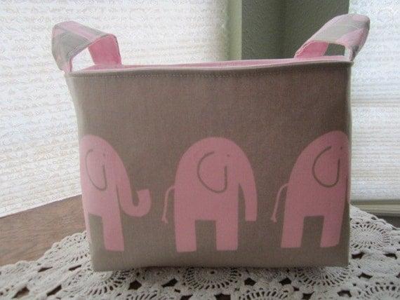 Reversible Organizer Fabric Elephant Pink and Grey Bin Basket Storage Ready to Ship