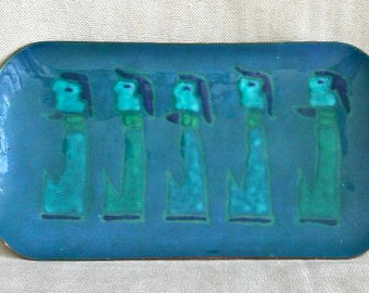 Rectangular Plate with Blue Figures - Enamel on Copper -  by Maggie Howe