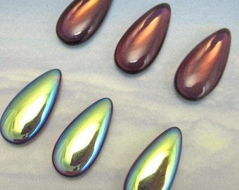 Vintage Glass Stones 4 pcs 24x12 purple AB Purple teardrop Cabochon S-314
