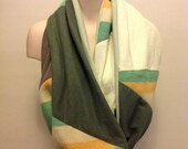 T-scarf made from recycled t-shirts and recycled Hudson Bay blankets