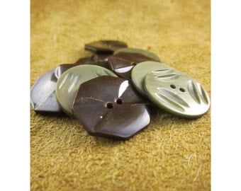 Sage Green & Dark Chocolate Brown Plastic Vintage Button Assortment - Vintage Plastic Buttons - Total of 10 Buttons