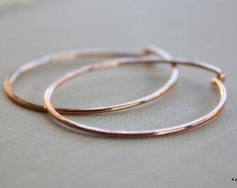 Simple Copper Hoop Earrings Round Hammered Hoops 18 Gauge Handmade Jewelry