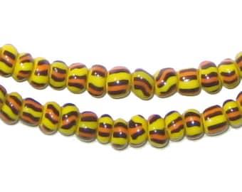 West Africa Orange & Yellow Ghana Chevron Beads (CHEV-SED-MIX-243)
