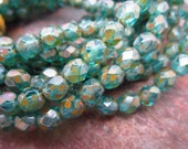 Teal with Picasso Spash Firepolished 6mm Czech Glass Beads